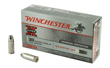 Winchester Ammunition Super-X, 38 Super +P, 125 Grain, Silvertip Hollow Point, 50 Round Box X38ASHP, UPC : 020892201408