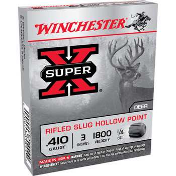 "Winchester Ammunition Super-X, 410 Gauge, 3"", 0.25 oz., Slug, 5 Round Box X413RS5, UPC : 020892016538"