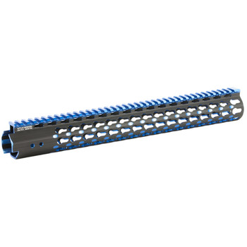 "Leapers, Inc. - UTG UTG PRO, Super Slim Free Floating Rail, Black/Blue 2-Tone, Fits AR-15, 15"", Includes Two Keymod Rail Sections and Barrel Nut Wrench MTU019SSKB2, UPC :4717385552708"