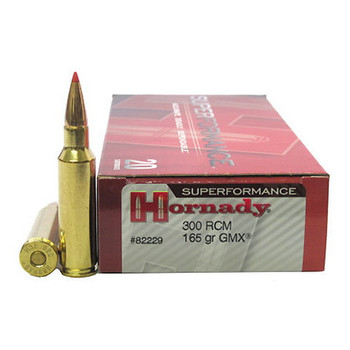Hornady Superformance GMX Ammunition 300 Ruger Compact Magnum (RCM) 165 Grain GMX Boat Tail Lead-Free Box of 20, UPC : 090255822298