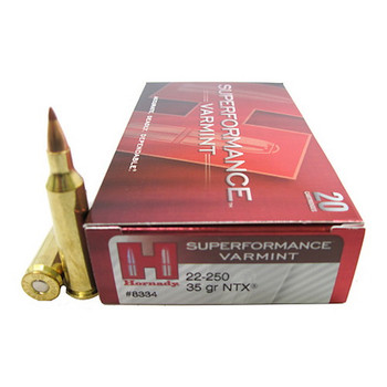 Hornady Superformance Varmint Ammunition 22-250 Remington 35 Grain NTX Lead-Free Box of 20, UPC : 090255383348