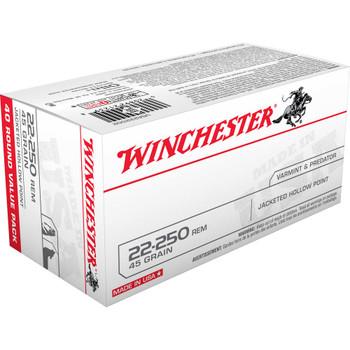 CASE OF 10 USA 22-250 REM 45GR JHP 40/BX, UPC : 020892212398