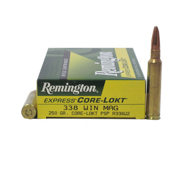 Remington Express Ammunition 338 Winchester Magnum 250 Grain Pointed Soft Point Core-Lokt Box of 20, UPC : 047700066608