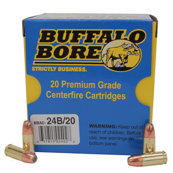 Buffalo Bore Ammunition 9mm Luger +P+ 124 Grain Jacketed Hollow Point Box of 20, UPC :651815024028