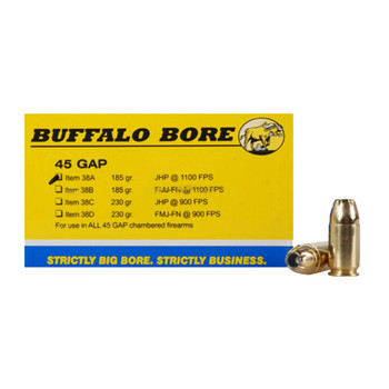 Buffalo Bore Ammunition 45 GAP 185 Grain Jacketed Hollow Point Box of 20, UPC :651815038018