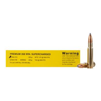 Buffalo Bore Ammunition Supercharged 358 Winchester 225 Grain Spitzer Boattail Box of 20, UPC :651815041018