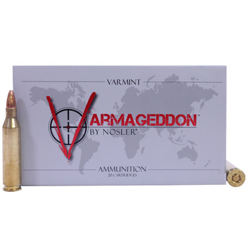 Nosler Varmageddon Ammunition 243 Winchester 55 Grain Hollow Point Flat Base Box of 20, UPC : 054041651608