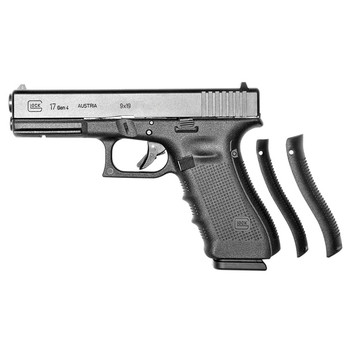 "Glock 17 Gen 4, Safe Action, Full Size Pistol, 9MM, 4.48"" Barrel, Polymer Frame, Matte Finish, Fixed Sights, 17Rd, 3 Magazines, Glock OEM Rail PG1750203, UPC :764503000881"