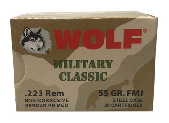 WOLF MILITARY CLASSIC .223 REMINGTON 55 GRAIN FMJ