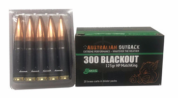 Australian Outback, 20 rounds 300 Blackout 125 GR. HP Matchking GREEN LABEL