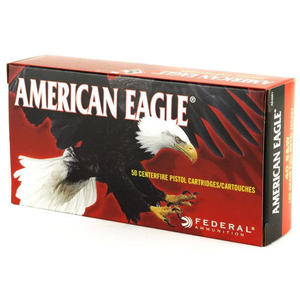 Federal American Eagle, 40S&W, 180 Grain, Full Metal Jacket, 50 Round Box AE40R1, UPC : 029465092542