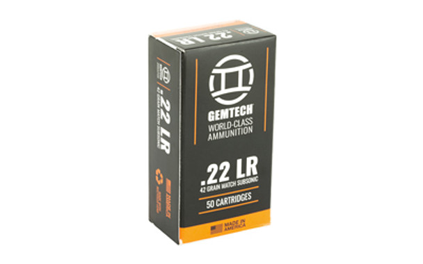 Gemtech Subsonic 22LR, 42 Grain, Round Nose, 50 Round Box 3009679, UPC :609728889722