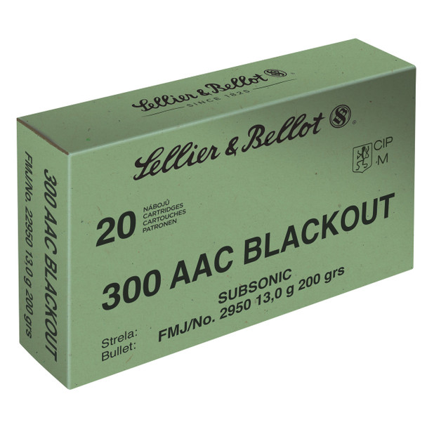 Sellier & Bellot Rifle, 300 Blackout, 200 Grain, Full Metal Jacket, Subsonic, 20 Round Box SB300BLKSUBA, UPC :754908512461