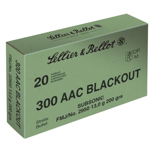 Sellier & Bellot Rifle, 300 Blackout, 200 Grain, Full Metal Jacket, Subsonic, 20 Round Box SB300BLKSUBA, UPC :754908512461