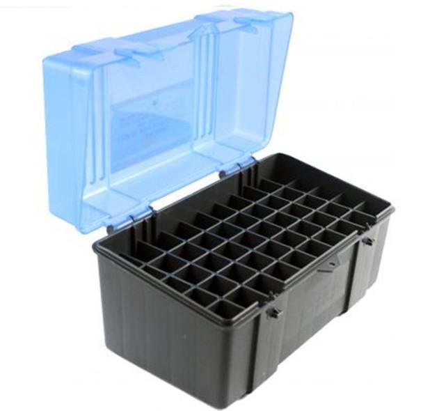 Plano Ammo Box 25-06 Remington, 280 Remington, 30-06 Springfield 50-Round Plastic Dark Gray and Clear Blue, UPC : 024099123051