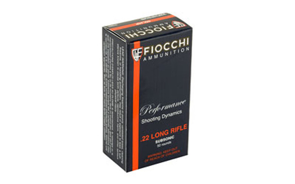 Fiocchi Ammunition Rimfire, 22LR, 40 Grain, Hollow Point, Subsonic, 50  Round Box 22FHPSUB, UPC :762344710020