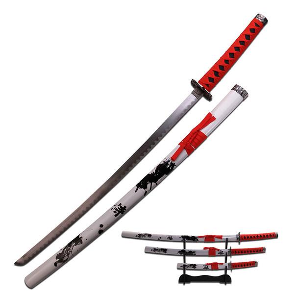 Samurai Katana Sword Set of 3 Red Wrap Handles Wht Scabbard, UPC :805319124450