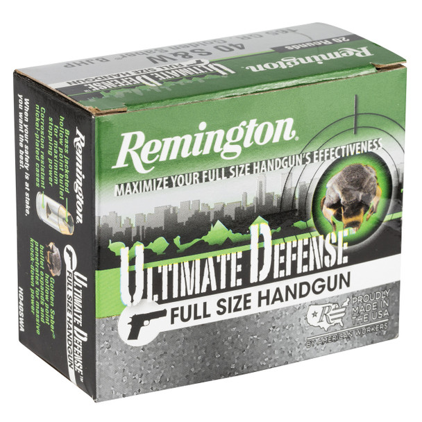 Remington Ultimate Defense, 40 S&W, 165 Grain, Brass Jacketed Hollow Point, 20 Round Box 28957, UPC : 047700471907