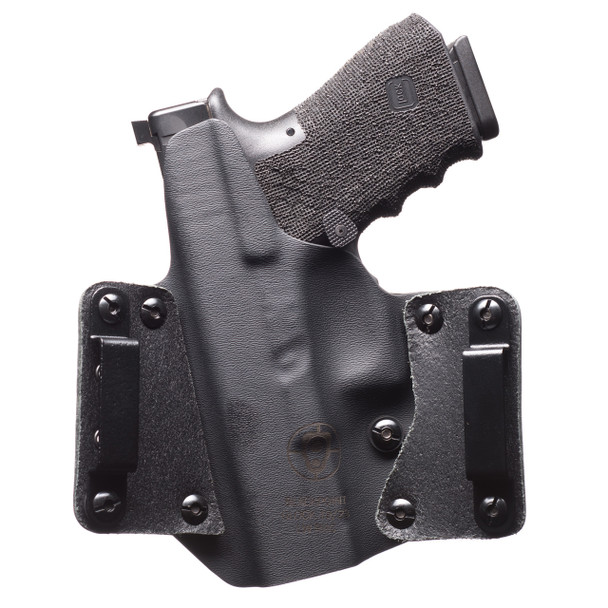 "Black Point Tactical Leather Wing OWB Holster, Fits Sig P365, Right Hand, Black Kydex & Leather, with 1.75"" Belt Loops, 15 Degree Cant 105928, UPC :191107059289"