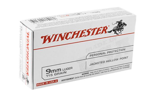 Winchester Ammunition USA, 9MM, 115 Grain, Jacketed Hollow Point, 50 Round Box USA9JHP, UPC : 020892213159