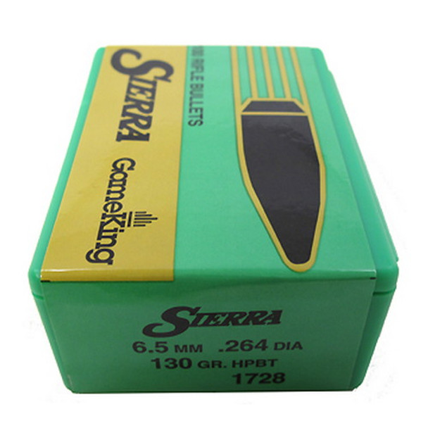 Sierra GameKing Bullets 264 Caliber, 6 5mm (264 Diameter) 130 Grain Hollow  Point Boat Tail Box of 100, UPC : 092763017289