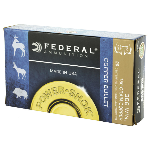 Federal PowerShok, 308 Win, 150 Grain, Copper, Lead Free, 20 Round Box 308150LFA, UPC :604544617368