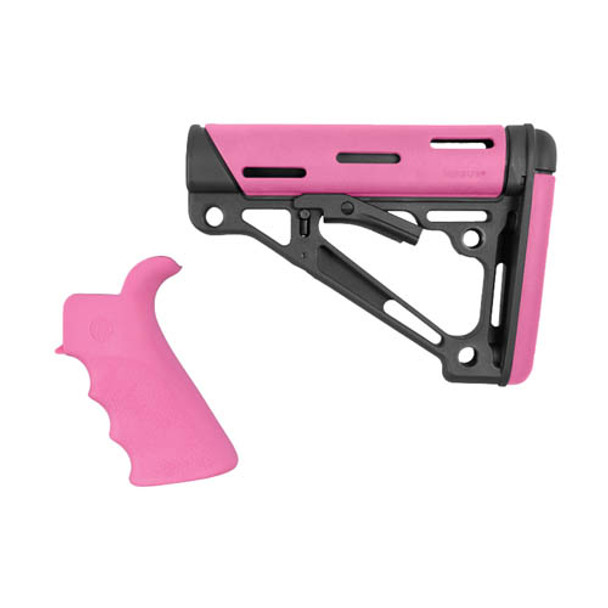 AR-15/M-16 Kit - Finger Groove Beavertail Grip and OverMolded Collapsible  Buttstock - Fits Commercial Buffer Tube - Pink Rubber, UPC :743108157558