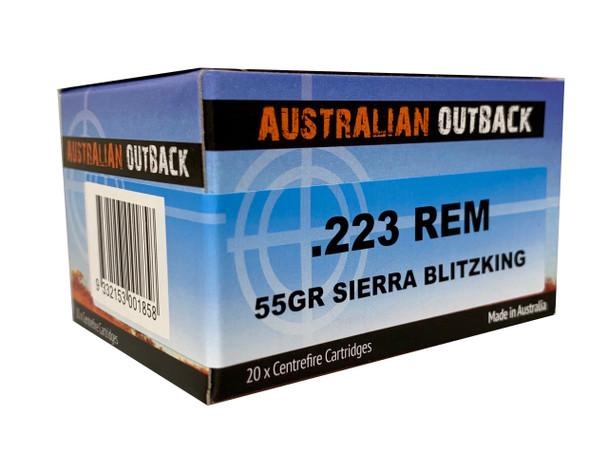 20rd Box Australian Outback .223 Rem 55gr Sierra Blitzking UPC: 9332153001858