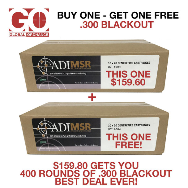 GROUP BUY 400 Rounds (2 Cases) of Australian Munitions .300 Blackout 125 GR. HP MatchKing GROUP BUY