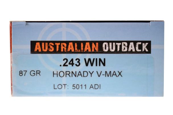 20rd Box Australian Outback .243 WIN 87 GR Hornady V-MAX UPC: 9332153001964