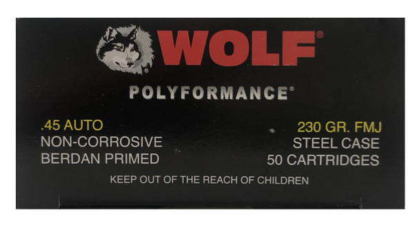 WOLF POLYFORMANCE .45 AUTO 230 GRAIN FMJ STEEL CASE