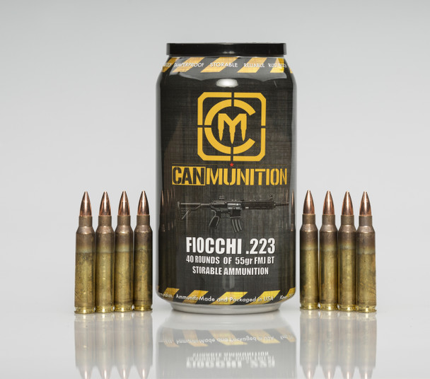World's First - CanMunition™ .223 55 Grain FMJ Boattail in a 40round beverage can! UPC 850003223025