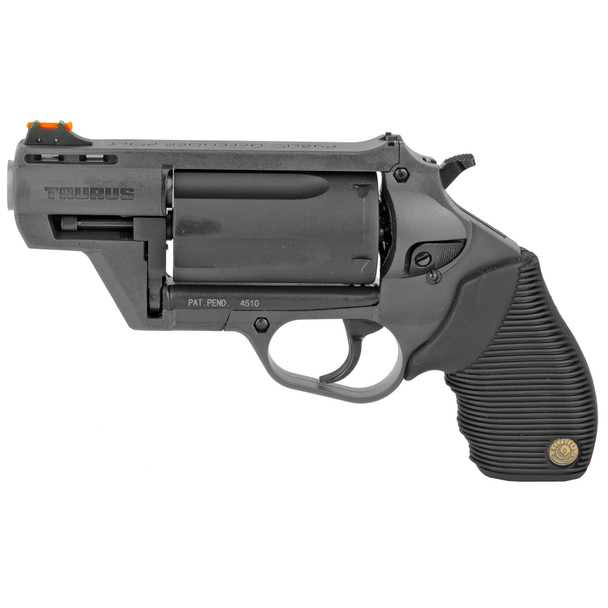 "Taurus, Judge, Public Defender, Medium Frame, 410 Gauge/45LC, 2"" Barrel, 2.5"" Chamber, Gray Polymer Frame, Rubber Grips, Fixed Sights, 5Rd UPC 725327615293"