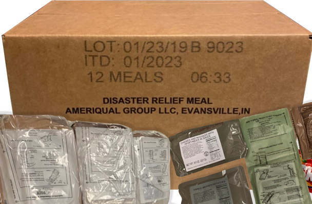 Ameriqual MRE  Meals with Flameless Ration Heater, Assorted Case of 12 UPC: 654409729712