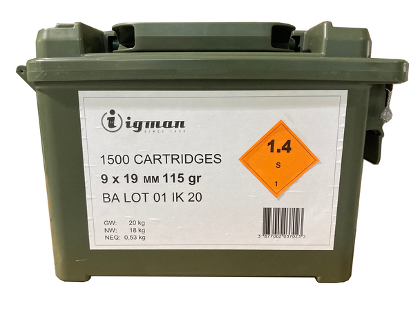 Igman 9mm 115 GR FMJ 1500rd In Plastic Ammo Can UPC: 3877002037023