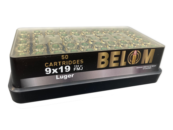 Belom 9x19mm 124 Grain 50 round box UPC: 8606110608086