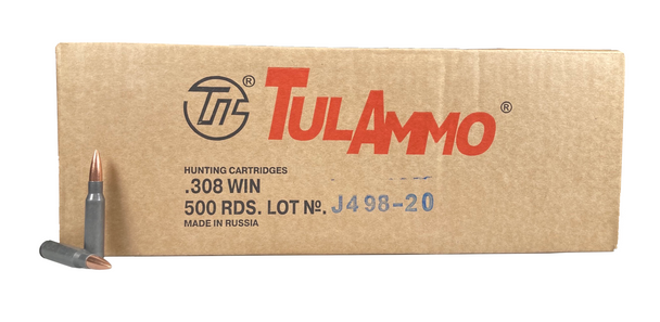 Tulammo .308 Win, 150gr FMJ, Steel Case, 500 Round Case UPC: 814950011289-C