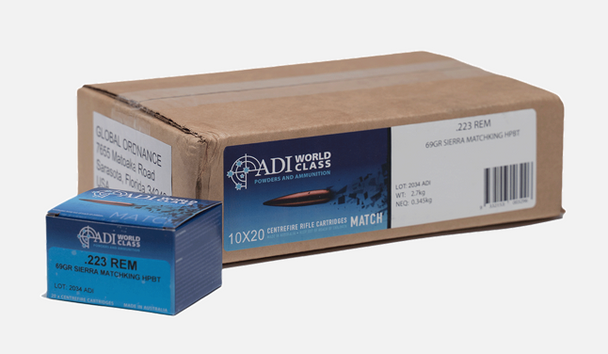 ADI World Class .223 REM, 69 Grain Sierra MatchKing, 200 Round Case UPC: 9332153003296
