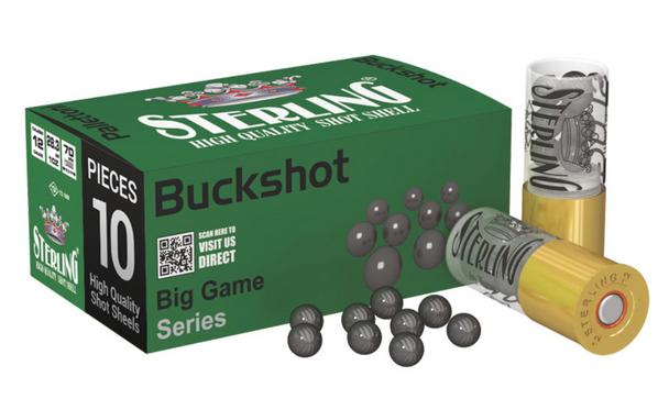 Sterling 12 Gauge 00 Buckshot 10rd box UPC: 8698779949730