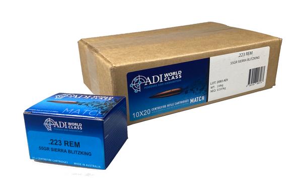 ADI World Class .223 REM, 55 Grain Sierra Blitzking, 200 Round Case UPC: 9332153003173