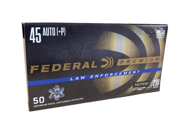 Federal 45 Auto +P law enforcement 230 Grain 50 per box P45HST1 UPC: 029465094485