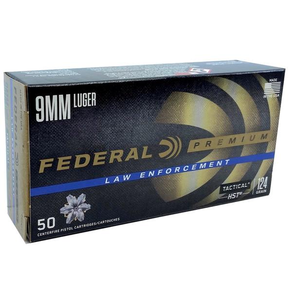 Federal, 9mm Luger Law Enforcement 124 Grain 50 Per Box P9HST1 UPC: 029465094621