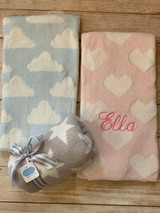 Chenille Baby Blanket by Wicked Stitches Available in pink hearts, blue clouds and gray stars.