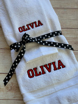 College Towel set by Wicked Stitches Gifts.  Set of two pieces, one hand towel , one bath towel.