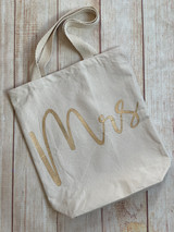 Mrs. canvas tote by Mudpie. Available at Wicked Stitches Gifts.