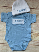 Our Patch Onesie and hat set for the baby boy!  Wicked Stitches Gifts.