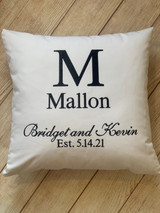 Our Established Pillow is a wonderful way to show off the new couples Monogram!  Great gift for the new Mr. and Mrs. or to celebrate an Anniversary.  By Wicked Stitches Gifts.