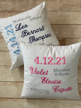 Baby Birth Announcement Pillow by Wicked Stitches.  Incredible keepsake!  Wonderful gift for the new addition.  Wicked Stitches Gifts.