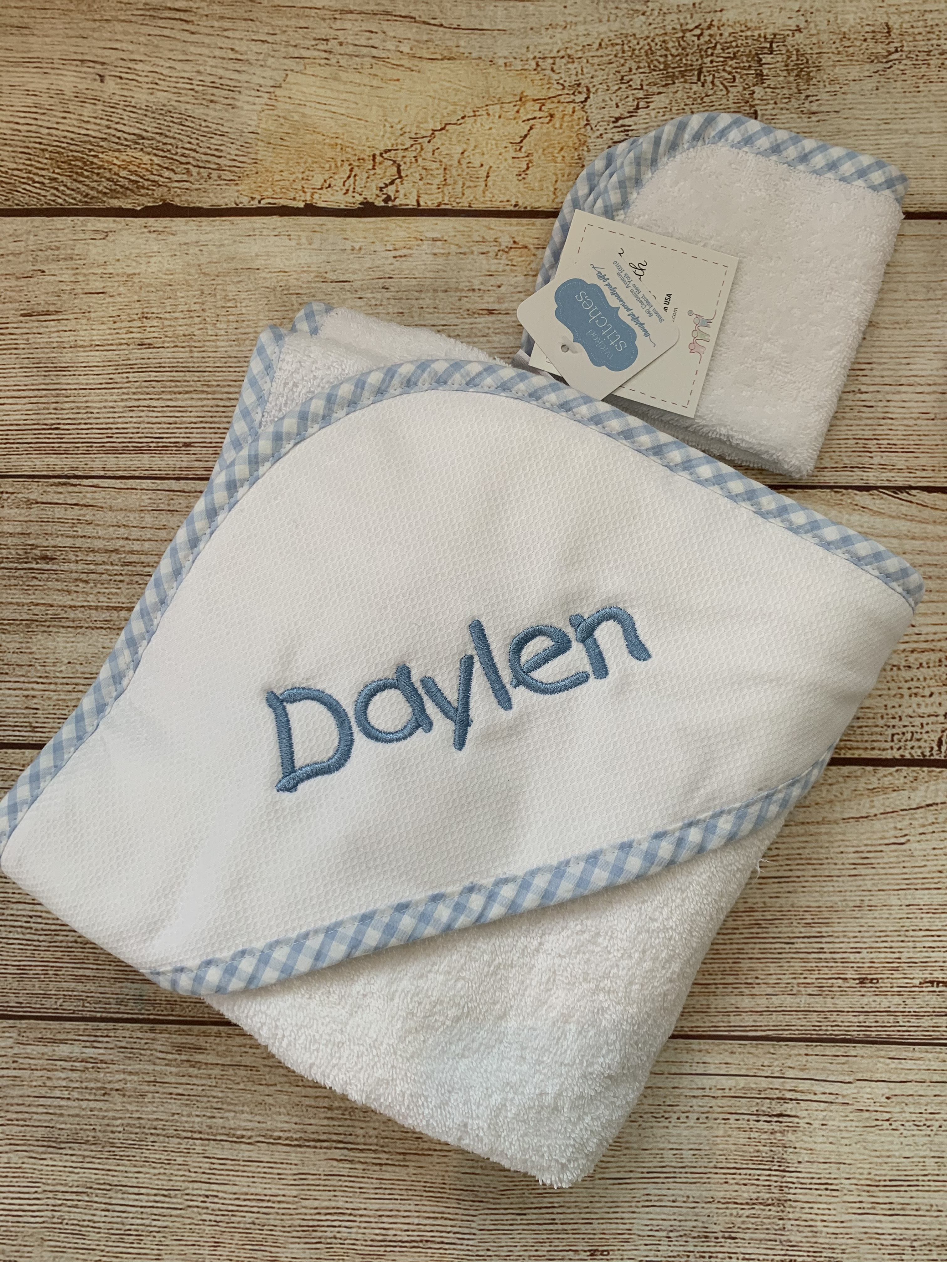 Baby Hooded Towel and Wash Cloth by Wicked Stitches Gifts.
