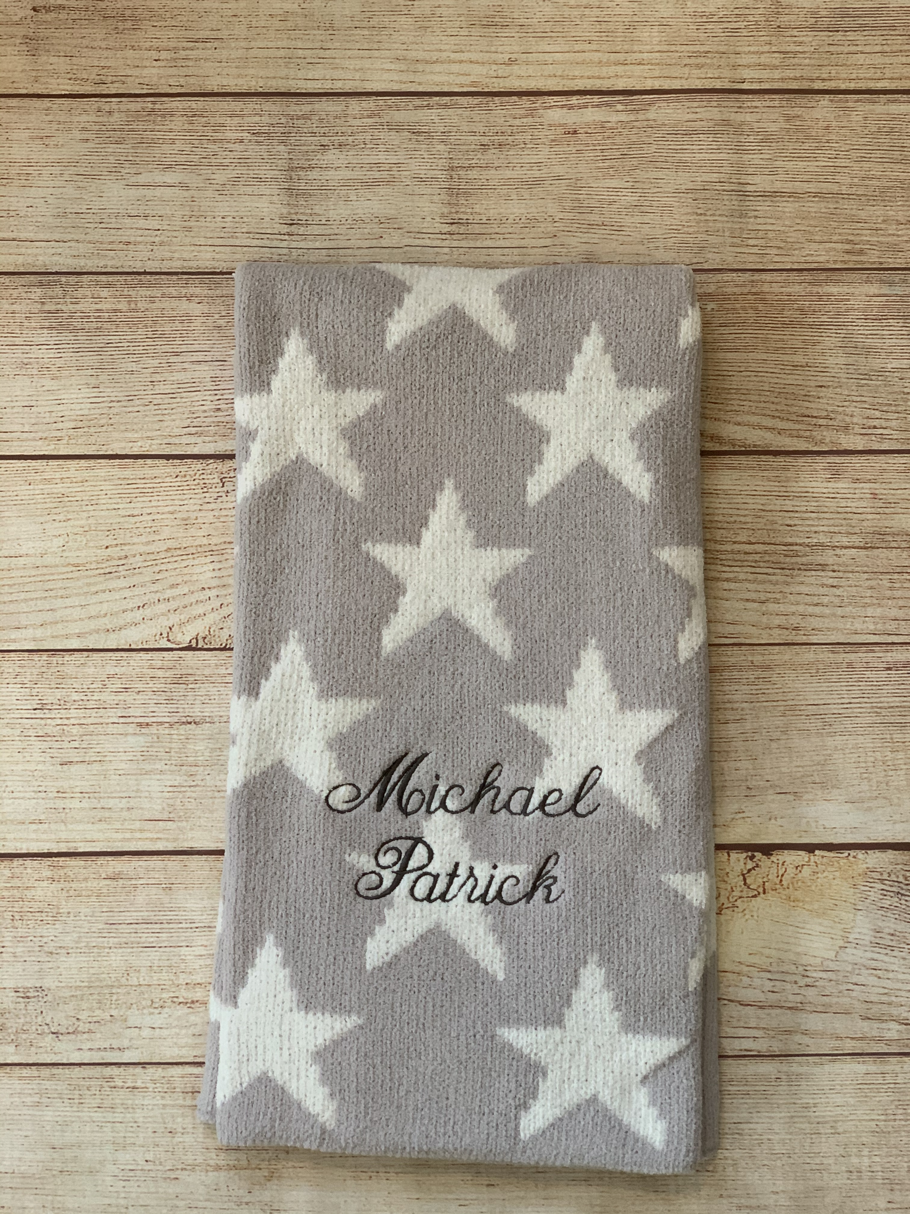 Chenille baby blanket gray stars.  Wicked Stitches Gifts.